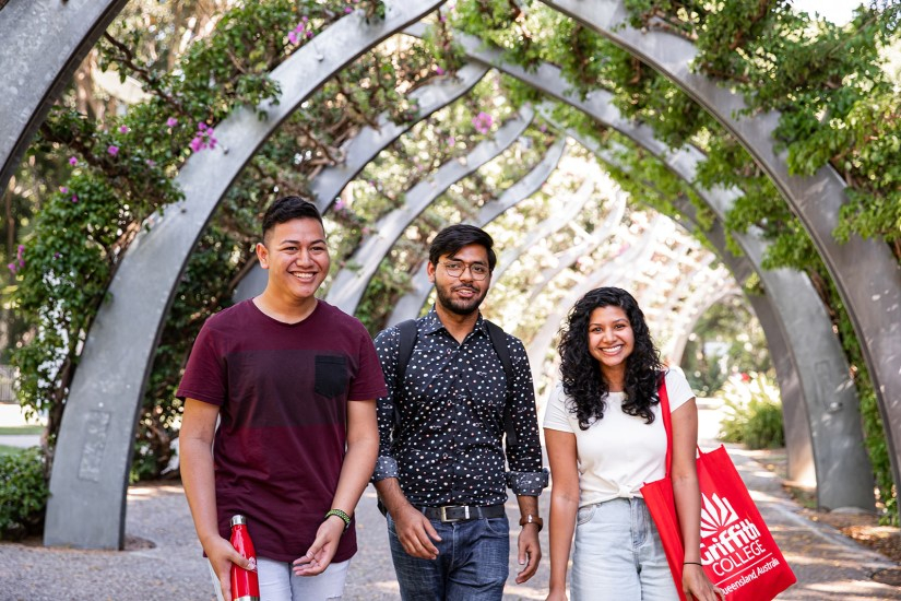 Group of Griffith College students walking together in Southbank, Australia